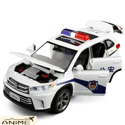 ∞Anime∞1/32 豐田漢蘭達6開門警車合金車模聲光回力逼真警笛汽車模型玩具