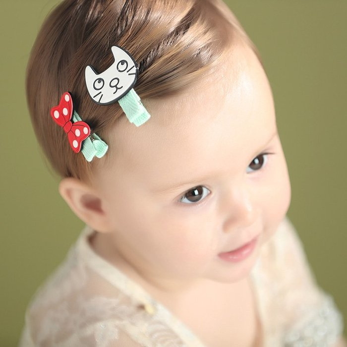 ☆草莓花園☆C175兒童髮夾 貓咪和蝴蝶結髮夾    拍照攝影 頭飾髮飾