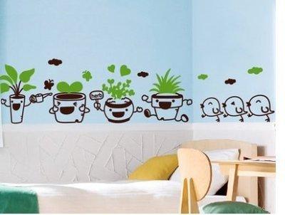 小妮子的家@歡樂小鴨盆栽壁貼/牆貼/玻璃貼/磁磚貼/家具貼