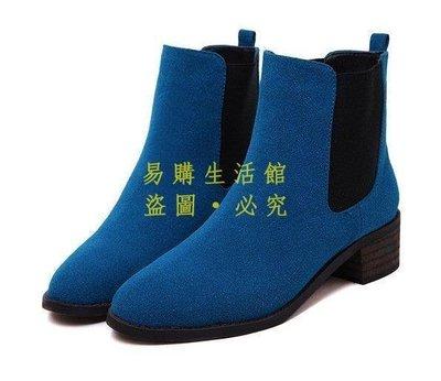 [王哥廠家直销]韓版舒適百搭馬丁靴粗跟中跟套筒短靴 女靴子 做五色 4531-黑 灰 藍 棕 紫3540 #嵐LeGou_
