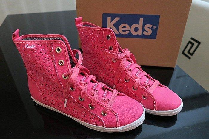 *Beauty*ked's珊瑚粉紅縷空雕花高統帆布鞋 GR 8 1/2M 原價2290元