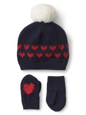 【天普小棧】baby GAP Heart pom-pom hat & mitten set愛心球球毛線帽連指手套深藍