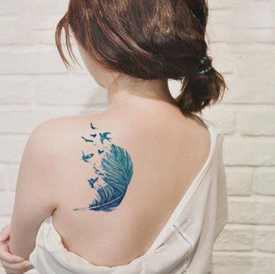 【萌古屋】Z系列羽毛C大圖 - 男女防水韓風簡約紋身貼紙刺青貼紙SC-558 K02