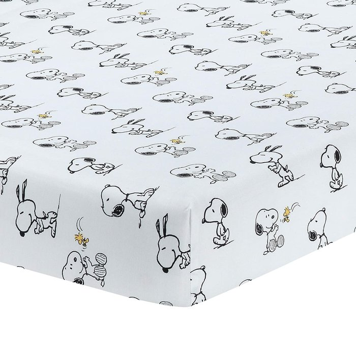 預購 美國嬰幼兒 Snoopy 嬰兒床 可愛黑白史努比 棉質床包 床單 彌月禮 生日禮