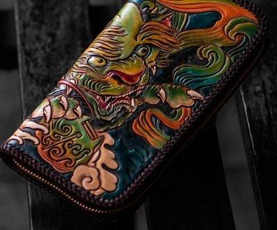 NYCT 韓國高品質限定原創 歐美熱賣頂級百搭時尚彩色皮雕錢包手工製作長款手拿包男頭層牛皮手機包植鞣革養牛錢夾