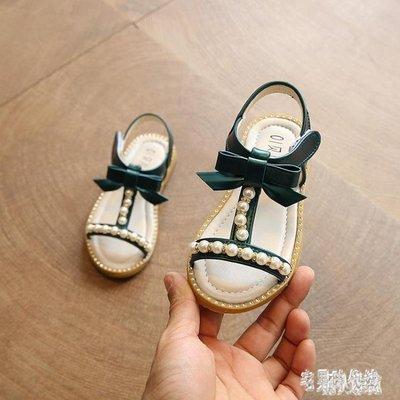 女童涼鞋 2019新款兒童夏款軟底鞋珍珠蝴蝶結公主涼鞋女童寶寶鞋小孩鞋 DJ9126