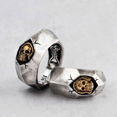 戒指 地裂紋骷髏頭925銀戒指男復古霸氣朋克泰銀指環個性搖滾開口戒指 米可