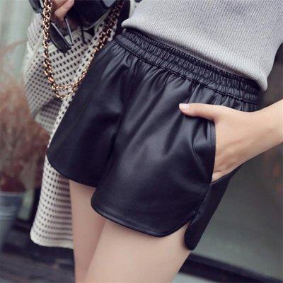 pu皮褲女短褲靴褲韓版寬鬆高腰休閒大碼外穿寬管褲