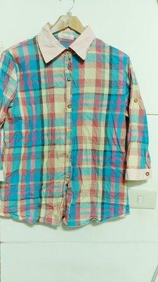 一元起標無底價 二手 格子 格紋 粉色系 七分袖上衣 襯衫上衣 百搭 出清