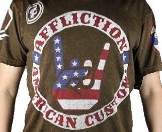 Affliction 短袖 T 恤 咖啡色 國旗搖滾 UFC 手染 設計 刺青潮牌 S M 【以靡 imy88.com】