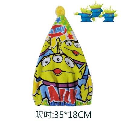 出口日本TOY STORY三眼怪Squeeze Toy Aliens綠底款毛巾料乾髮帽(3~6歲均適用)日本同步販賣…