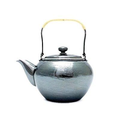 日本銅器【銀川堂】燻銀銅壺 藤把急須 0.36L 黃銅銀壺 漣漪波紋 銅底鍍銀小茶壺 GINSENDO御用日本製 銅壺銅