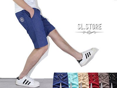 SL Store【SC55602】多色星星徽章拉繩休閒短褲.丈青/水藍/卡其/酒紅/深灰/黑/M/L/XL/2XL