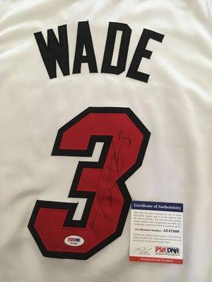 準名人堂球星Dwyane Wade 熱火 Miami Heat 簽名球衣 Reebok AU 44 (PSA認證)