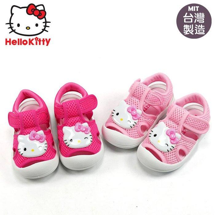 女童鞋/ Hello Kitty 大頭凱蒂貓透氣護趾寶寶涼鞋.童鞋 粉.桃13-16號