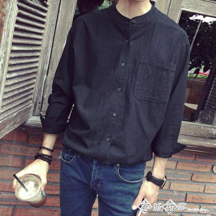 春秋季立領亞麻襯衫男長袖韓版青年寬鬆大碼棉麻襯衣男潮薄款外套