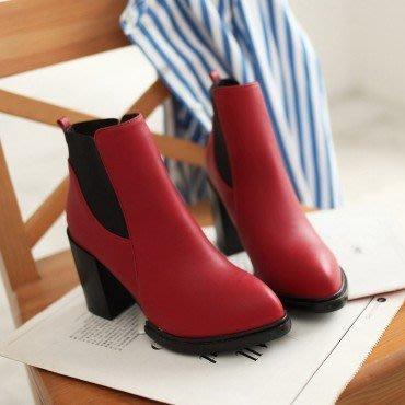yes99buy加盟-秋冬新款女鞋 松緊大跟粗跟短靴