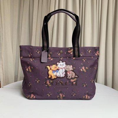 【小怡代購】 全新 COACH 91130 美國正品代購新款女士帆布托特包 Disney聯名款 購物袋 超低直購