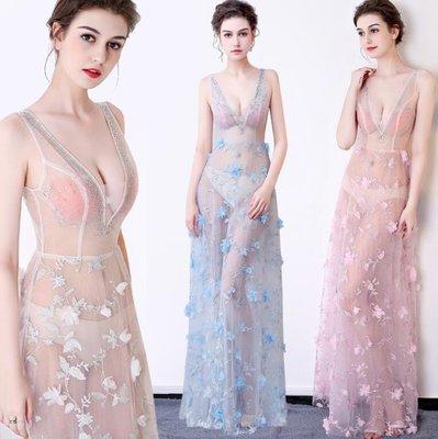洋裝 性感透視裝 V領立體花蕾絲車模會所夜場演出服清涼飄逸長款晚禮服 XS-XL碼—莎芭