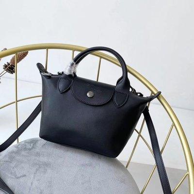 法國正品 Longchamp le pliage badges系列 2020羊皮mini手提斜跨水餃包