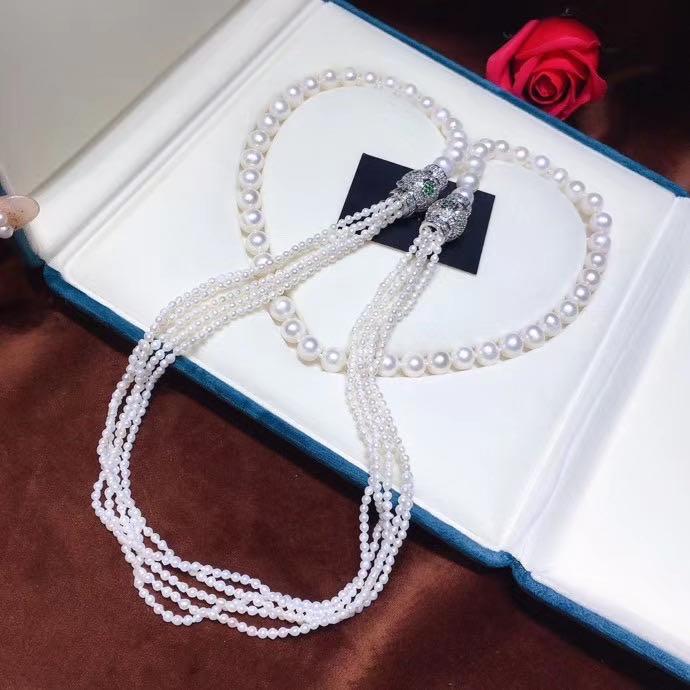 N種戴法!一款多用!天然淡水白珍珠項鍊!貼心花式活釦設計!怎麼戴都好看!純天然小珍珠2-3mm左右大珍珠9-10mm左右 近圓微瑕 純手工製作!