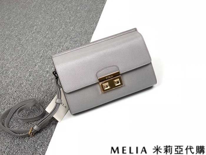Melia 米莉亞代購 商城特價 數量有限 0812 FURLA 風琴包 單肩斜背包 牛皮牙籤細紋 鎖扣包 灰色