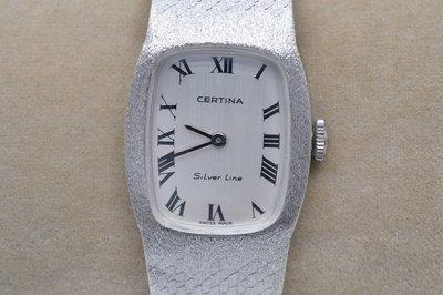 《寶萊精品》CERTINA 雪鐵納銀白橢圓手動女子錶