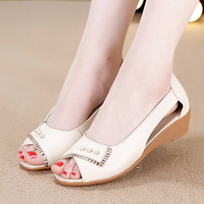 可開發票 媽媽涼鞋 真皮中年魚口鞋 坡跟水鑽平底鞋z7305
