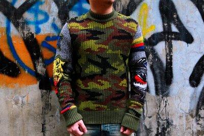 DIESEL 義大利製 迷彩 毛衣 現貨 M號 拼接 貼布 過袖 針織