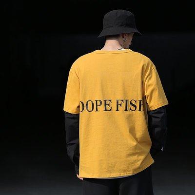 DUMB春季新款假兩件長袖T恤后背字母印花體恤春裝上衣學生衣服潮