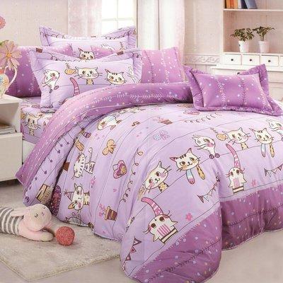 100%精梳棉雙人床包被套四件組-貓咪...