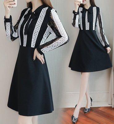 GOGO SHOP☆╭氣質長袖小洋裝禮服L-5XL中大尺碼【Y2128】春裝女裝蕾絲拼接顯瘦洋裝長袖收腰遮肚子連身裙