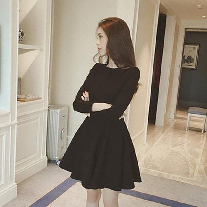 999长袖洋装秋冬連身裙女加絨赫本復古小黑裙2018新款韓版黑色長袖打底a字裙11NM22