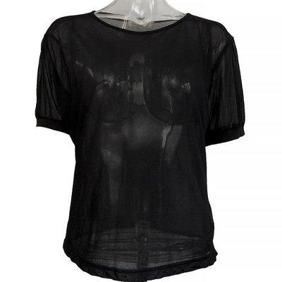 義大利品牌EXCURSION黑色素面網紗短袖上衣 義大利製