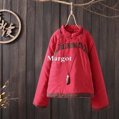[Margot]時尚原創 立領盤扣夾棉短款棉衣 2018冬裝大碼長袖茶服棉襖復古