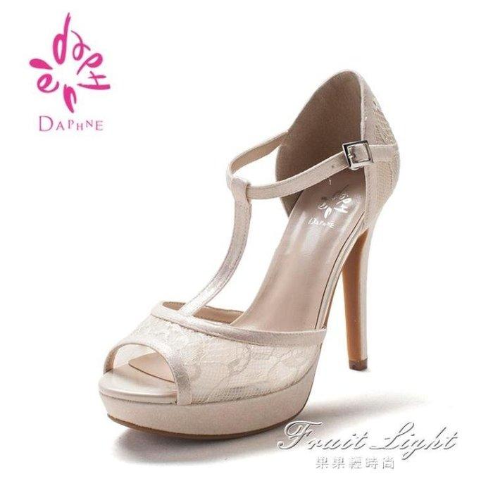 高跟鞋 涼鞋女高跟鏤空魚嘴涼鞋女工作鞋1016303053