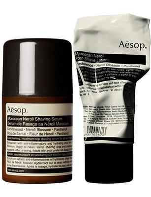 全新正品。澳洲 Aesop 。 摩洛哥橙花刮鬍二重奏  (刮鬍精華 50ml + 鬚後護膚液 60ml)。預購