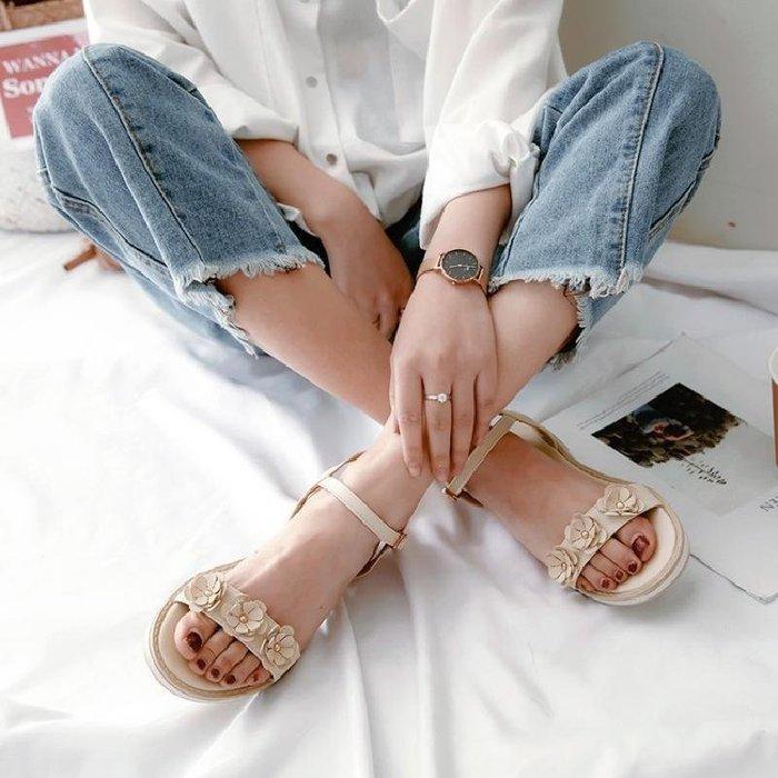 日和生活館 新款韓版夏季女童涼鞋兒童涼鞋真皮鞋子學生休閒中大童公主鞋 370D88