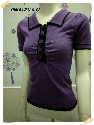 促銷 399。日系chereaux(i.n.e)【全新專櫃商品】深紫色 優雅款黑絨布大圓釦抓縐摺有領短袖針織毛衣