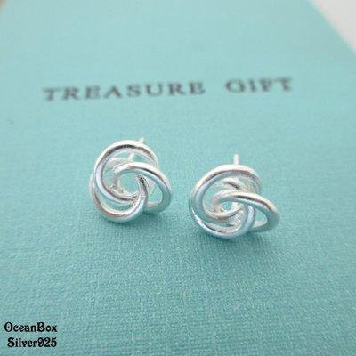 ☆§海洋盒子§☆時尚可愛。磨砂拉絲扭結三環針式925純銀耳環 OB7577 (E)《925純銀耳環》