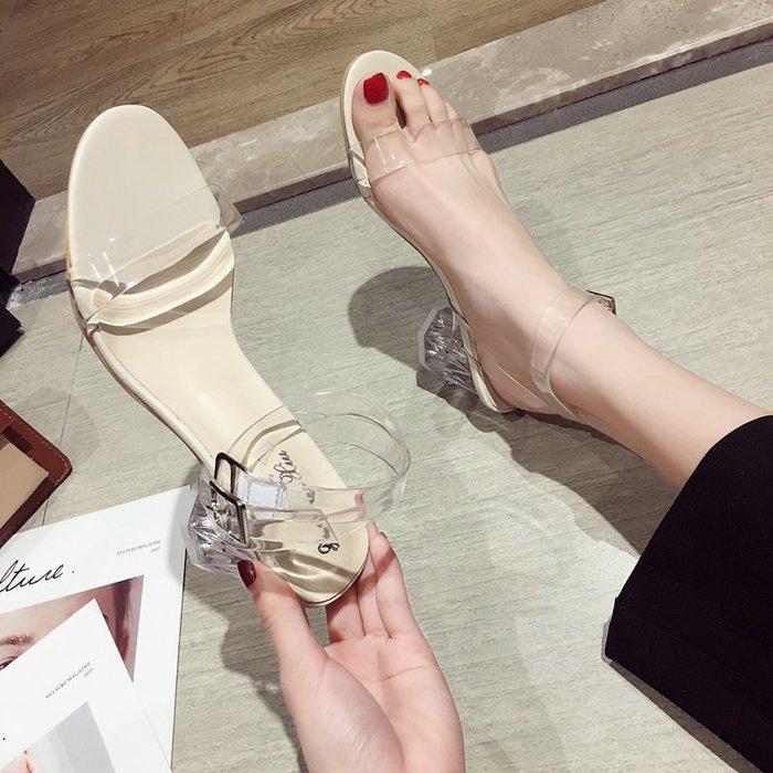 小尤家~網紅涼鞋女超火仙女風夏季新款一字扣帶高跟鞋韓版百搭羅馬鞋