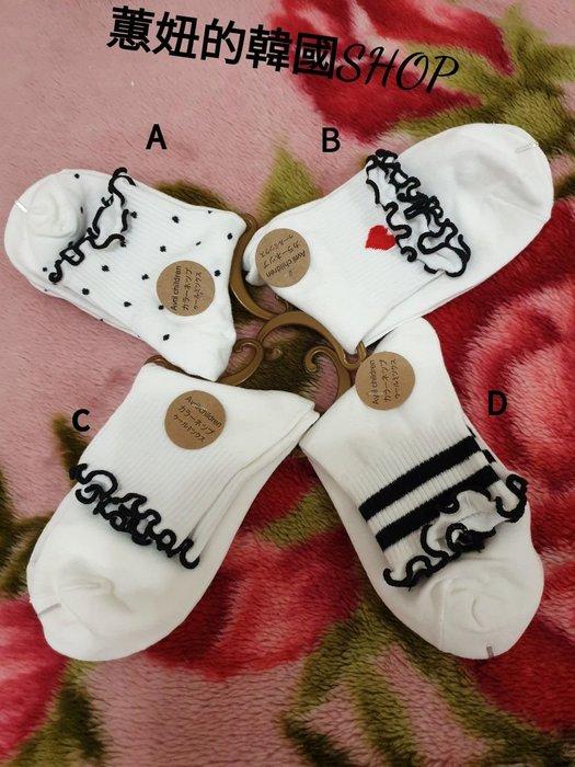 韓系學院風白色花邊襪$45