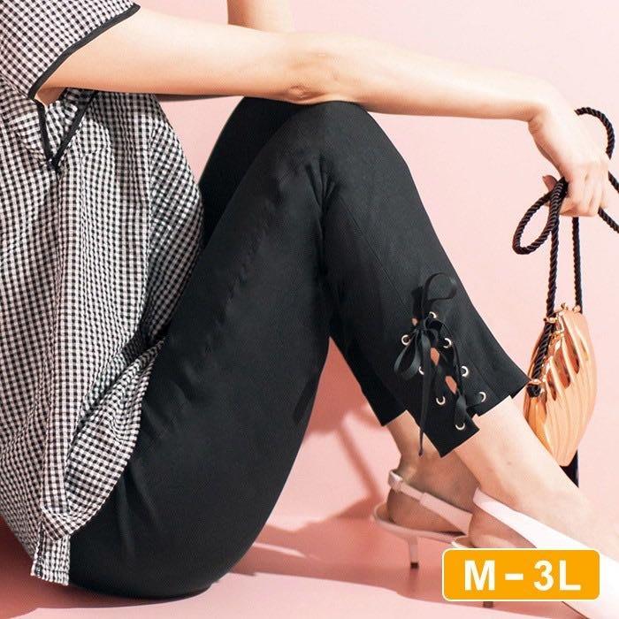 日本代購 褲擺緞帶蝴蝶結設計 彈性九分褲 M~3L 大尺寸 大尺碼