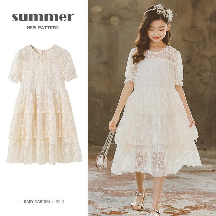 【TF5613】✿寶貝花園✿ 2021夏季新品 女童 中大童 蕾絲網紗裙 公主裙 連衣裙 洋裝