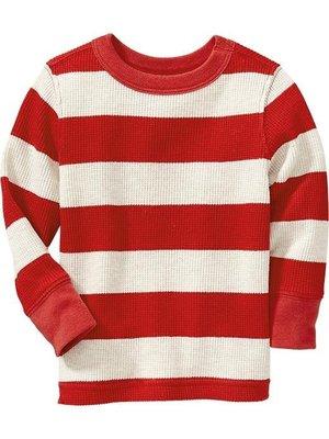 【Nichole's歐美進口優質童裝】Old Navy中性款圓領紅色條紋針織毛衣*另有Carter's/OshKosh