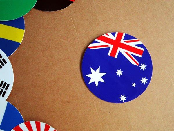 【衝浪小胖】澳洲國旗圓形登機箱貼紙/抗UV防水/Australia/澳大利亞/多國款可收集客製