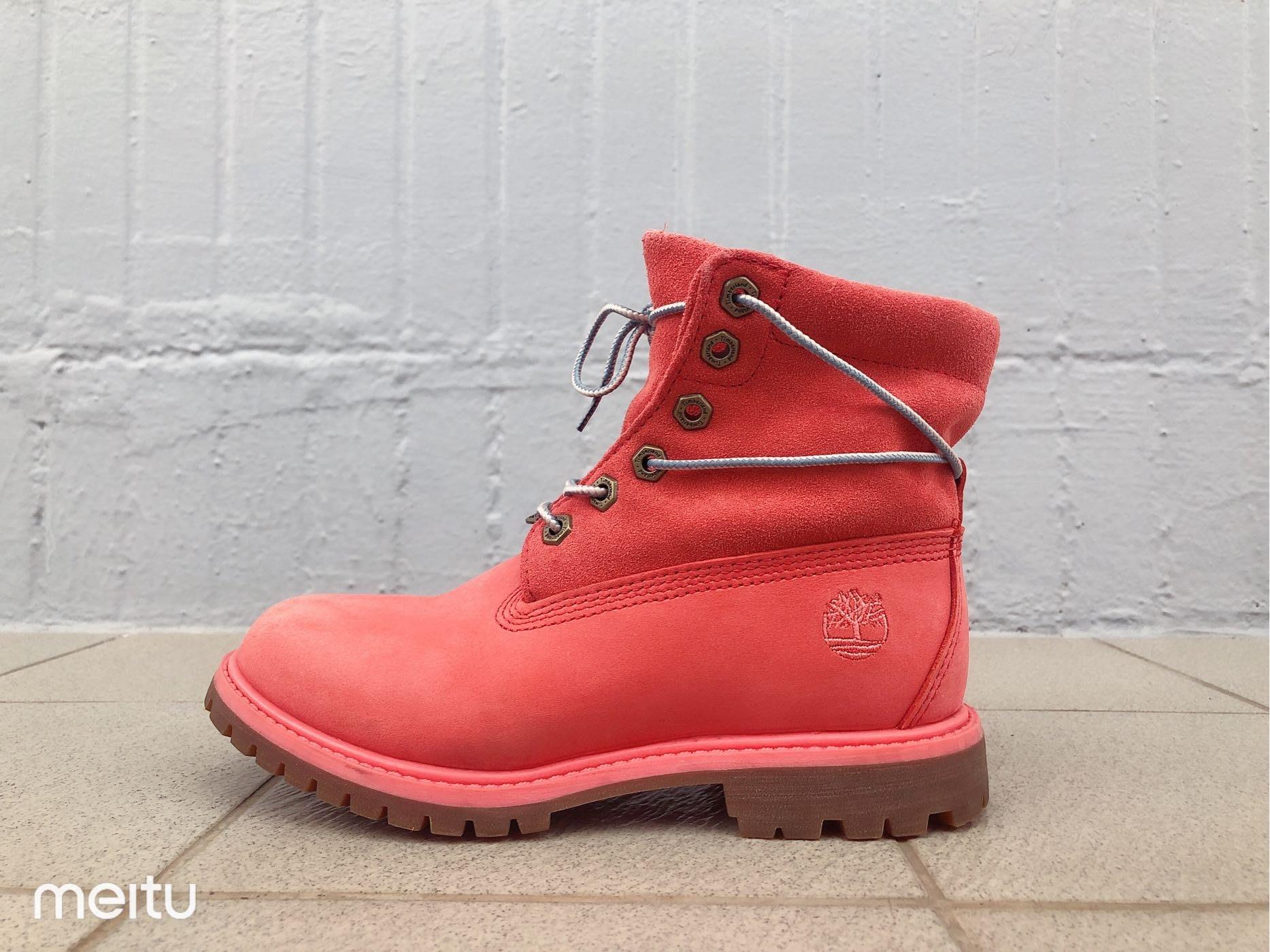 Timberland 美國第一戶外休閒品牌A1BNY 女士Roll-Top粉紅麂皮靴 短靴 網路最低價