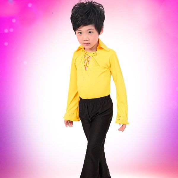 5Cgo【鴿樓】會員有優惠 38637418584 兒童演出服兒童拉丁舞服裝長袖男夏裝亮片幼兒舞蹈服男童 兒童舞衣