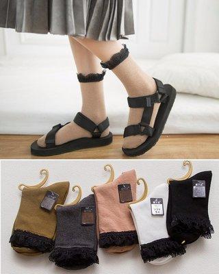 AJKE【G233】春夏新品襪 復古學院風黑蕾絲中筒襪 時尚透氣堆堆中短襪