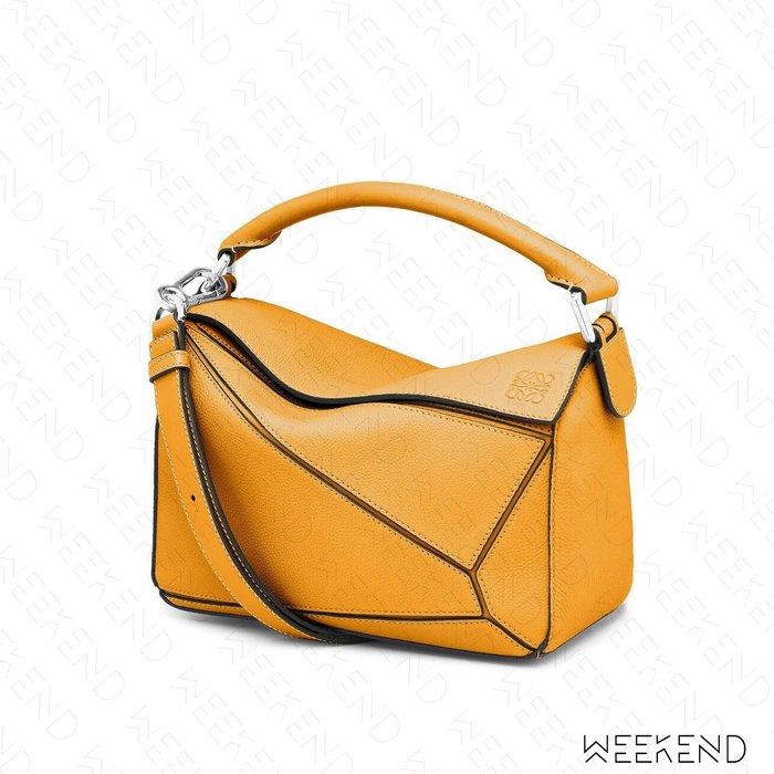 【WEEKEND】 LOEWE Small Puzzle 小款 荔枝皮 拼圖包 手提肩背包 向日葵黃色 20秋冬